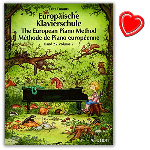 Europäische Klavierschule Band 2 von Fritz Emonts - 3 Sprachen - Anfang ohne Noten - Attraktive Illustrationen - mit bunter herzförmiger Notenklammer