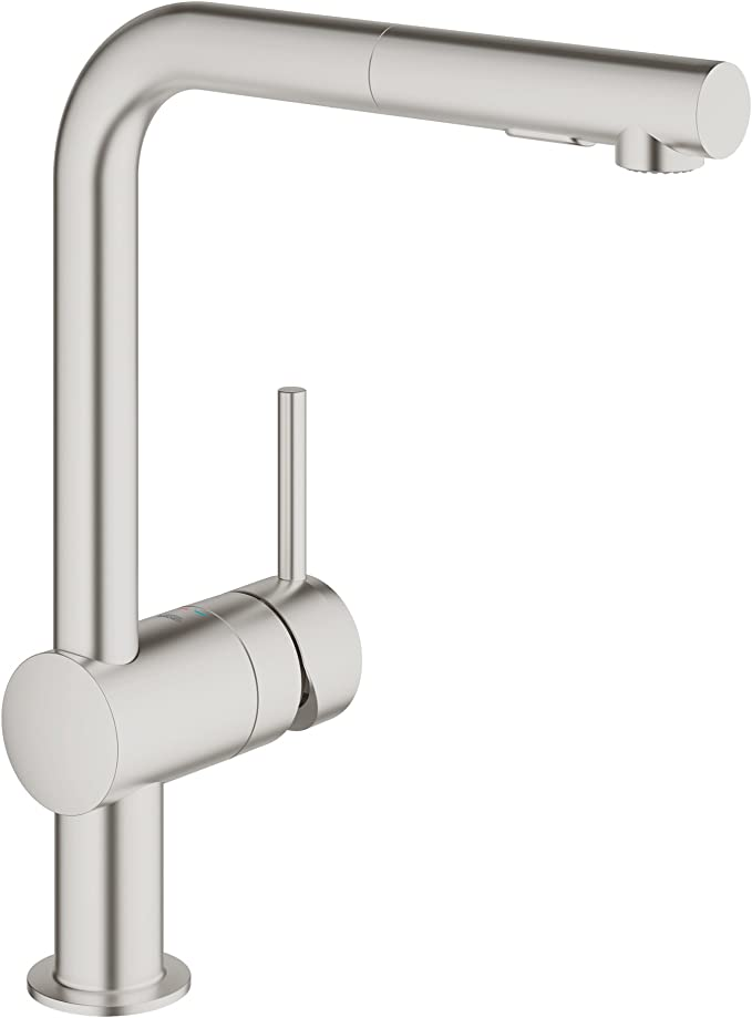 Grohe 30274dc0 Minta Kitchen Sink Mixer Pull Out Spray Supersteel Amazon Co Uk Diy Tools