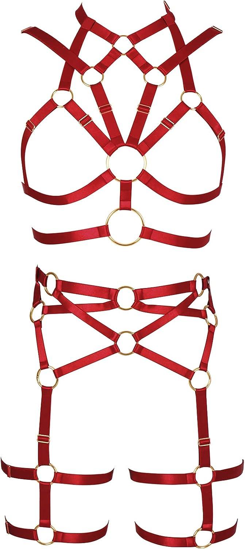 Lingerie cage Full body harness for women Garter belt set Punk Plus size Bra Gothic Chest strap Festival Rave Halloween