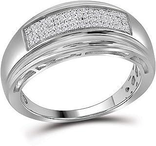 FB جواهر الفضة الاسترليني للرجال جولة الماس الزفاف تمهيد الفرقة الدائري 1/5 Cttw