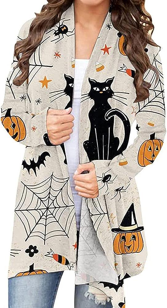 Women Halloween Cardigan Black Cat Pumpkin Ghost Graphic Long Sleeve Open Front Long Sweater Coat Lightweight Blouse Top (Cat Spider Web, XL)