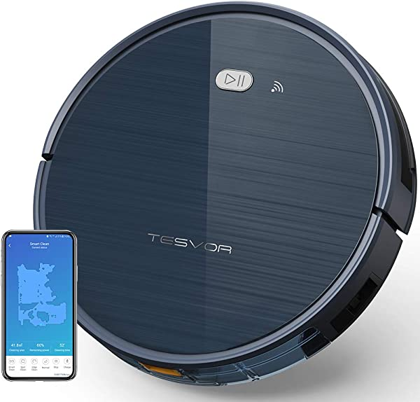 Tesvor Robot Vacuum Cleaner With App Remote Control Upgraded 1500 Pa Max Suction Ultra Slim Self Charging Robotic Vacuum Cleaner For Pet Hair Compatible With Alexa Voice Control Moon Gray