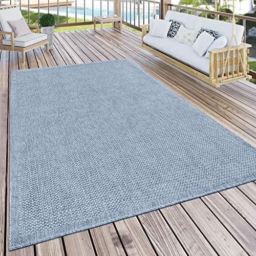 Paco Home Alfombra Exterior Terraza Balcón Cocina Lisa Moderna Azul, tamaño:120x160 cm