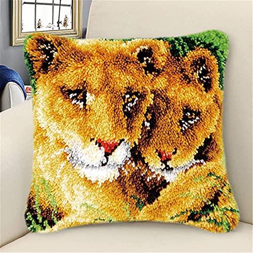 Kit de Gancho Kits de gancho de pestillo para adultos BRICOLAJE Kits de hilo de ganchillo Patrón de león animal Patrón de costura Crochet Kits de artesanía para una gran familia 17