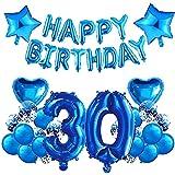 HONGECB 30er Cumpleaños Globos Azul, Globos De Confeti, Cumpleaños Decoraciones Para Chico y hombre, Numeros 30, Estrellas y Corazón, Pancarta De Happy Birthday Azul
