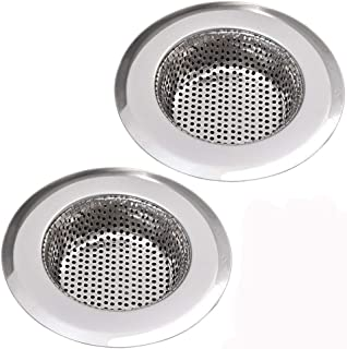 NHSUNRAY 2pcs Stainless Steel Kitchen Sink Strainer Heavy-Duty Drain Filter Fit for Drain Filter for Kitchen Bathroom Basi...