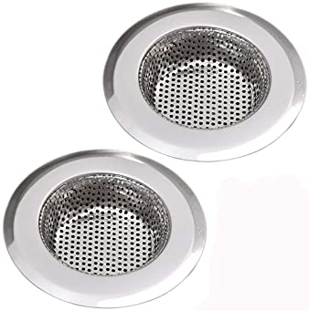 NHSUNRAY 2pcs Stainless Steel Kitchen Sink Strainer Heavy-Duty Drain Filter Fit for Drain Filter for Kitchen Bathroom...