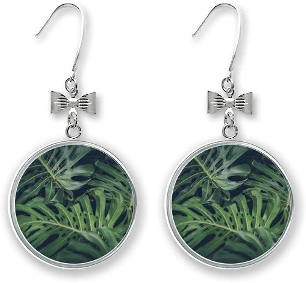 Sales for sale Green Leaf Plant Picture Night 67% OFF of fixed price Nature Bow Earrings Stud Pie Drop