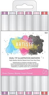 Docraft Artiste Dual Tip Permanent Brush Marker Pens Art/Craft - Florals (6pk)