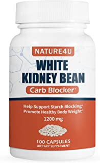 Nature4U White Kidney Bean Supplement Pills Pure Extract Starch Carb Blocker Weight Loss Formula - Lose Belly Fat Suppress...