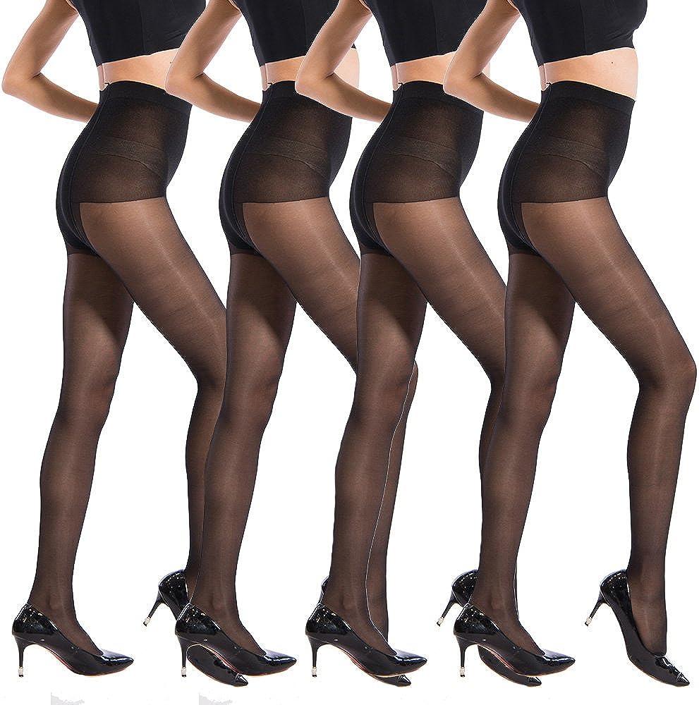 40 Denier Ultra Sheer Pantyhose for Women Control Top Silky Sheer Seamless Hosiery Tights Size 2-8