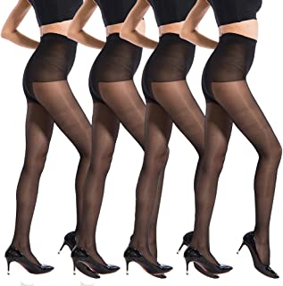 40 Denier Ultra Sheer Pantyhose for Women Control Top Silky Sheer Seamless Hosiery Tights Size 2-8