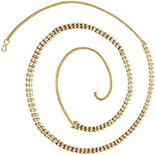 SULTAN Accessories Gold Plated Non Precious Metal Two Line Belly Chain Kamarband for Women (34-Inch)