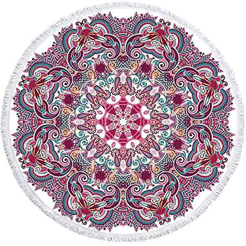 IAMZHL Toalla de Playa Redonda geométrica borlas Toalla de Ducha de baño de Microfibra para Adultos Picnic Yoga Mat Manta Cubierta-a2-150x150cm