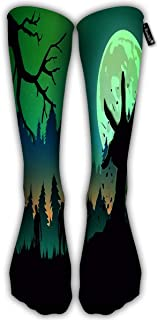 Running Socks For Men Women Silhouette Zombie Arm Reaching Out From Ground In Full Moon Night Ideal For Nightclub Poster Green Knee High Sport Socks