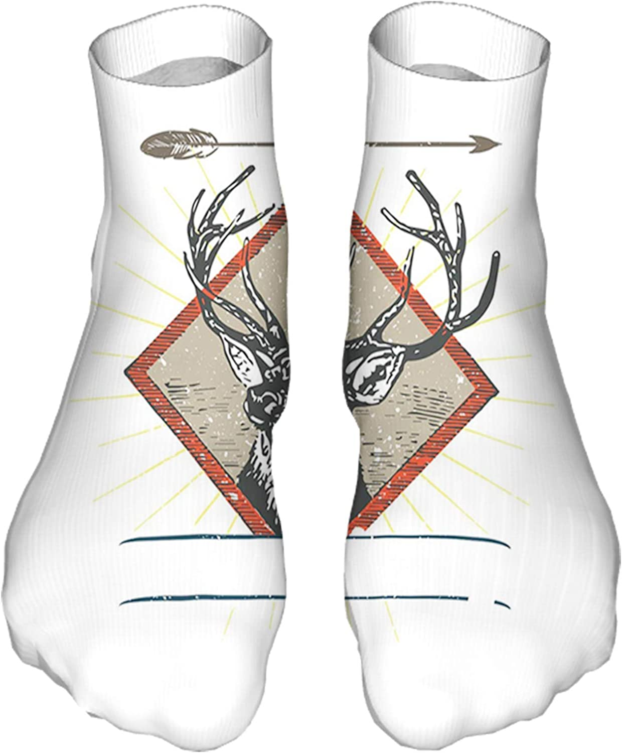 Women's Colorful Patterned Unisex Low Cut/No Show Socks,Hipster Wild Animal Antler Print on Plain Background