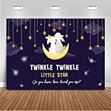 Mocsicka Bunny Gender Reveal Backdrop 7x5ft Vinyl Twinkle Twinkle Little Star Baby Shower Photo Background Cute Bunny Twinkle Little Gold Star Gender Surprise Photography Backdrops