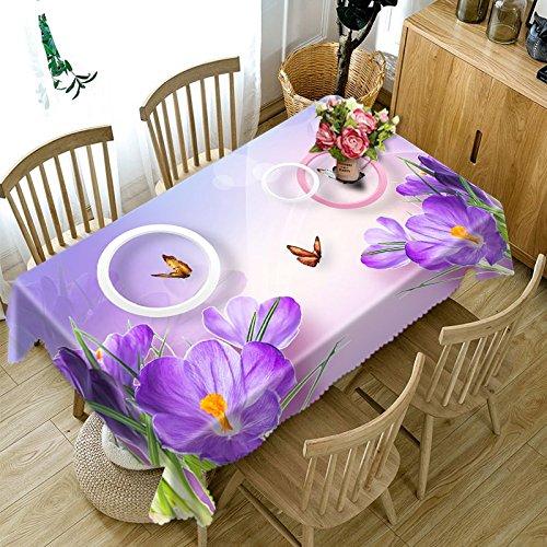 XXDD Tovaglia 3D Cherry Blossoms Buon Natale Fiore Viola Tovaglia Rettangolare Impermeabile per Matrimonio A3 150x210cm