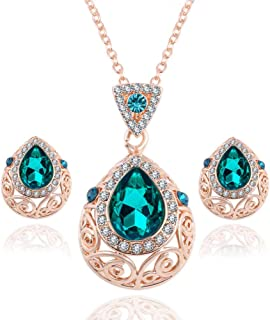 Green Crystal Jewelry Sets For Women - Necklace and Earrings Jewellery Set