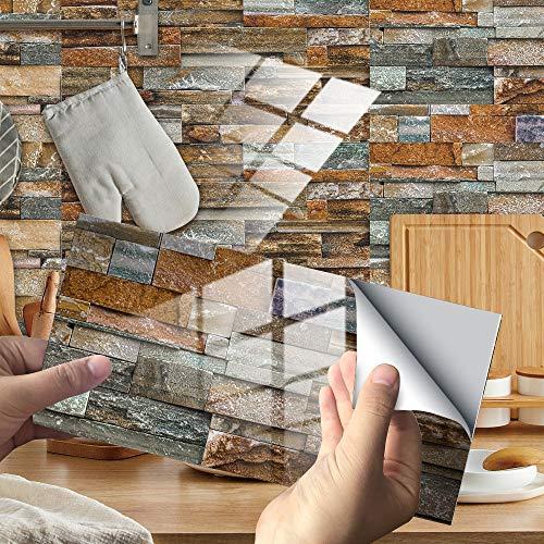 Hiseng 24/48 Piezas Rectángulo Adhesivos Decorativos Azulejos Pegatinas para Baldosas del Baño, Mármol Patrón Mosaico Estilo Cocina Resistente al Agua Pegatina de Pared (Gris marrón,24Piezas)