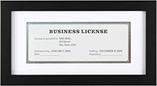 ONE WALL Tempered Glass 5x10 Business License Frame with Mat for 3.5x8 Standard Business License, Black Wood Picture Document Diplomat Frame for Wall and Tabletop - Mounting Hardware Included