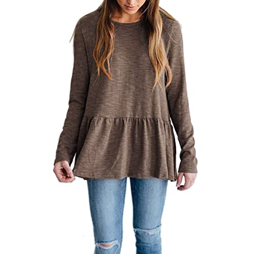 24b08e80481b Voghtic Women's Casual Long Sleeve Round Neck Babydoll Blouse Peplum Tops  Solid Color Back Button Design