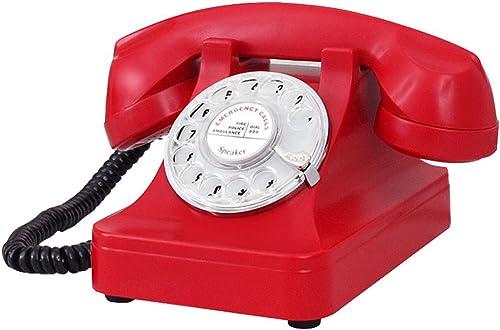 Hongyan Phone Téléphone à Fil Téléphone Rétro Téléphone Fixe Téléphone rougeatif Téléphone Antique Téléphone à Décoration Vintage Haut-Parleur HYX (Couleur   rouge)