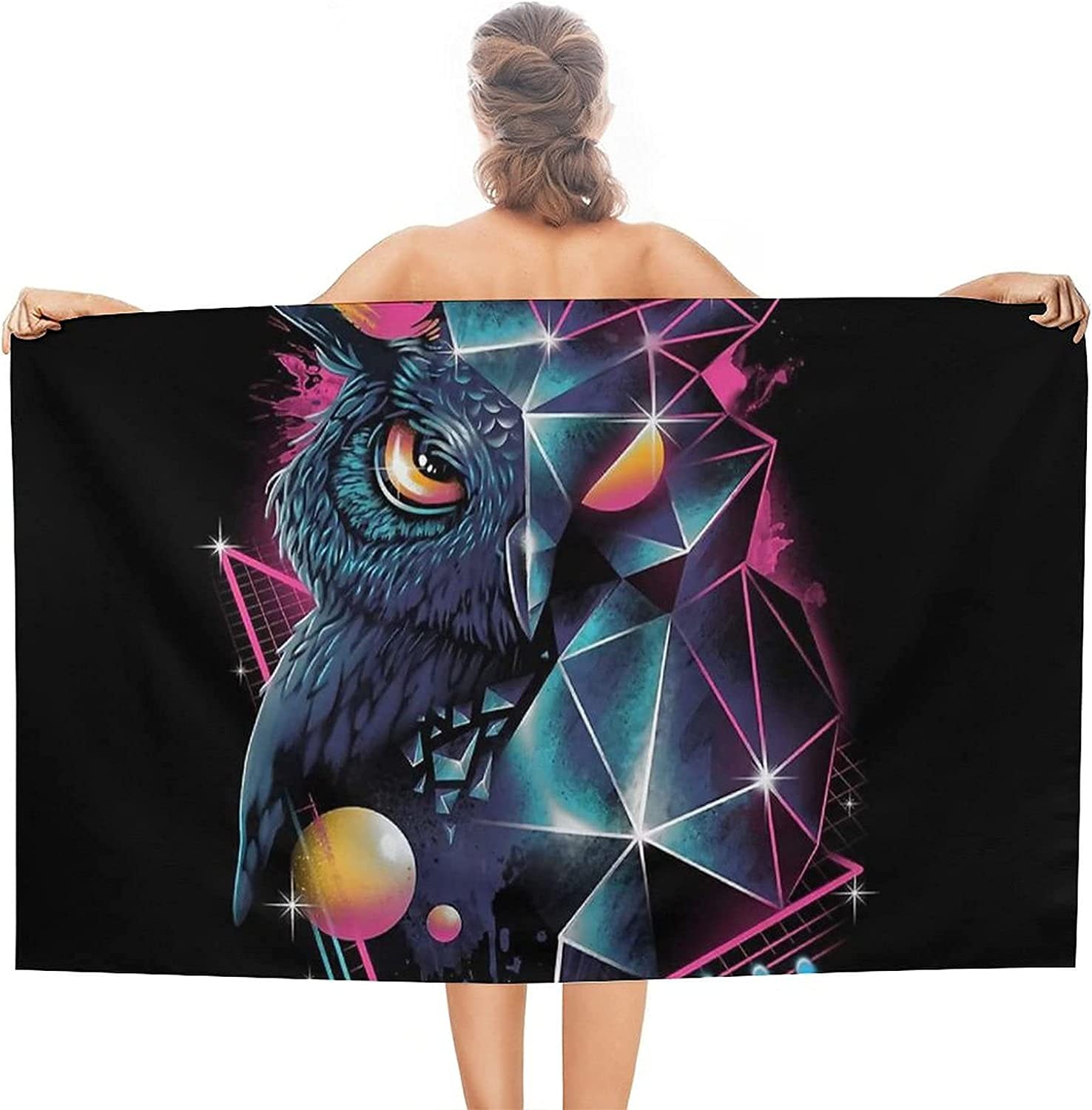 Owl Beach Towels Adult In a popularity Sandproof Superfine Ove Towel Direct sale of manufacturer Fiber