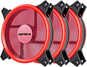 upHere Red Computer Case Fan 120mm LED Silent Fan for Computer Cases, CPU Coolers, and Radiators, Premium Edition 3 Pin 3 Pack/R12CM3-3