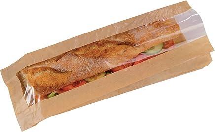 "Brown Kraft Paper Sandwich Bag with Window (Case of 1000), PacknWood - Recyclable Sandwich Envelopes (4.75"" x 1.57"" x 13.4"") 210SANDB34F"