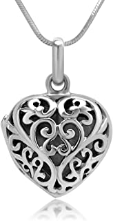 Chuvora 925 Sterling Silver Filigree Heart Shaped Designer Locket Pendant Necklace, 18 inches