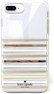 Kate Spade Clear Protective Case for iPhone 8 Plus,7 Plus,6s Plus,Gold/Gold Glitter Stripe