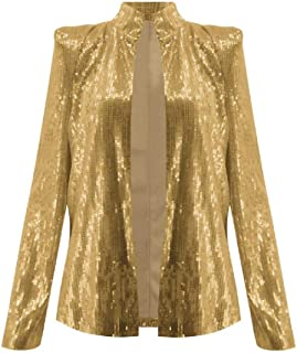 Zantt Women Crop Top Shining Long Sleeve Zip Up Sweatshirt Jacket Coat