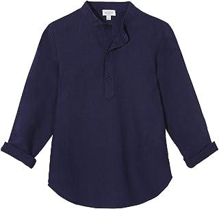 Gocco Camisa Mao Lino Azul Marino Niños