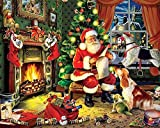 Adulto Puzzle 500 Piezas De Madera Rompecabezas Puzzles Papá Noel Y Perro Diy Educativo Puzzle Navidad Decoración Para El Hogar Regalo 52X38Cm