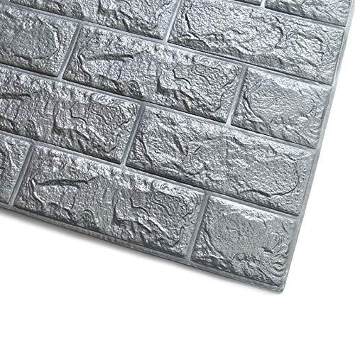 3D Wandpaneel Selbstklebende Aussehen Tapete Wand-Aufkleber 20pcsWall Aufkleber Home-Dekor-Produkte, 3D Wand srickers, Weiß, Self-Adhesive Panel-Aufkleber PE 20pcs Brick Wallpaper (Color : Gray)
