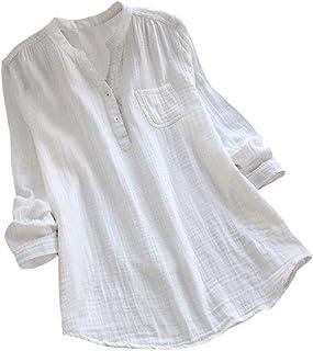 YEBIRAL Damen Bluse V-Ausschnit Langarm Shirt Leinen Einfarbig Lässige Lose Tunika Tops T-Shirt Hemdbluse Große Größen