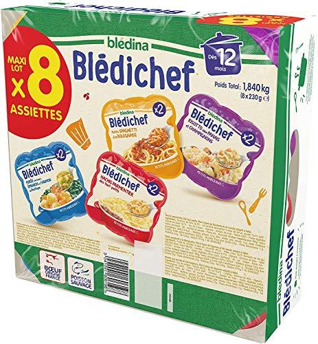 Blédina Blédichef, Repas bébé, Dès 12 Mois, 4 Recettes, 8x230g