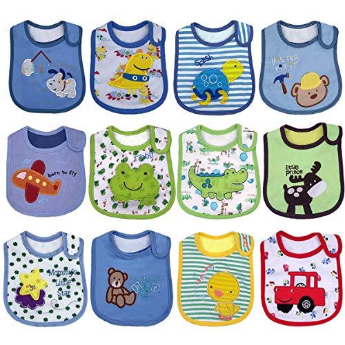 Yafane Lot de 12 Bavoirs Bébé Imperméables Coton Bandana pour Enfant Bébé Garçon 0 à 36 mois