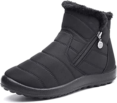 Camfosy Womens Winter Snow Boots, Waterproof Fur Lined Warm Ankle Booties Ladies Outdoor Flat Walking Shoes Thermal Non-Slip Rain Boots Side Zip Slip On Wide Calf Fitting Black Grey
