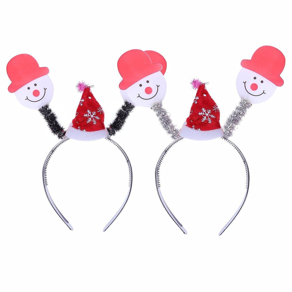 分数男ジェスチャーBESTOYARD 2本クリスマスヘッドボッパーヘアバンド光るヘッドバンドの髪のフープの衣装アクセサリーパーティーの好意(雪だるま)
