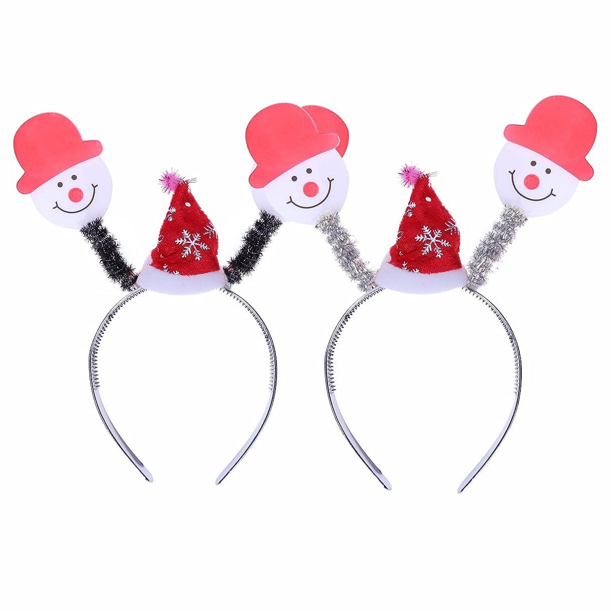 苦行例ポケットBESTOYARD 2本クリスマスヘッドボッパーヘアバンド光るヘッドバンドの髪のフープの衣装アクセサリーパーティーの好意(雪だるま)