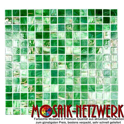 Mosaik-Netzwerk Mosaikfliese Quadrat Goldensilk grün Glas changierend Effekt italienischer Stil Fliesenspiegel, Mosaikstein Format: 20x20x4 mm, Bogengröße: 327x305 mm, 10 Bögen