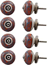 Indian-Shelf Handmade Ceramic Leaf Cupboard Knobs Drawer Pulls Furniture Handles(Turquoise, 1.5 Inches)-Pack of 8