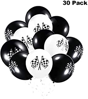 Finduat 30 Pieces Race Car Latex Balloons Checkered Racing Cars Flag Theme Black & White Balloon Birthday Party
