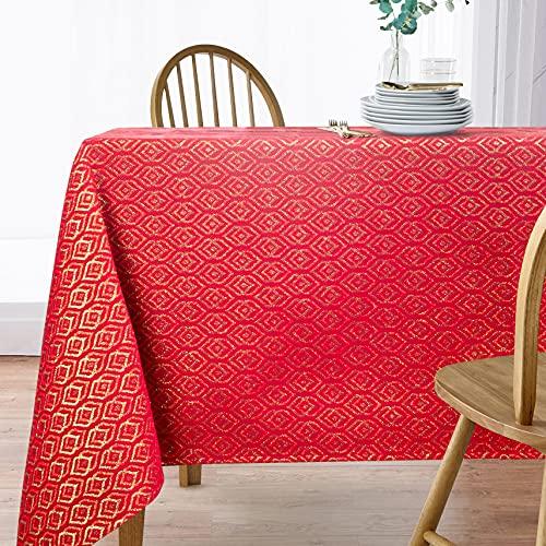 Viste tu hogar Mantel con Hilo Dorado, 140 x 300 CM, Especial para Decoración de Hogar con Diseño de Diamantes, Ideal para Cenas Familiares, Cumpleaños y Otras Fechas Especiales, Color Rojo.