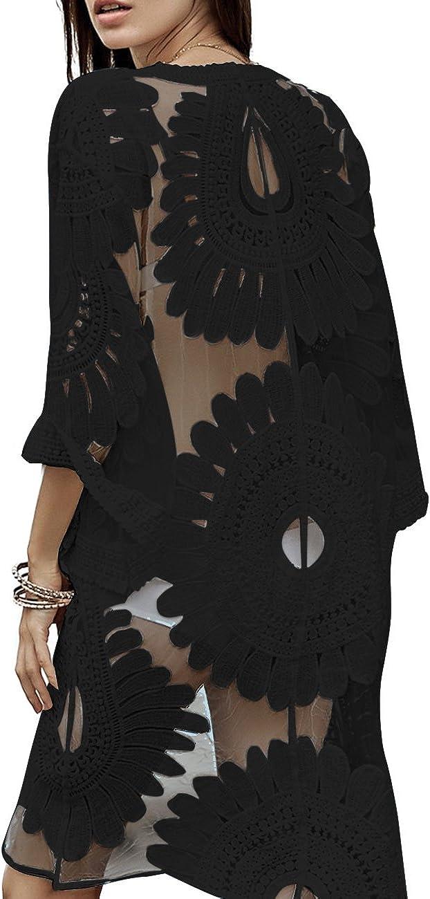 shermie Floral Kimonos for Women Beach Swimsuit Cover Up Long Kimono Cardigan