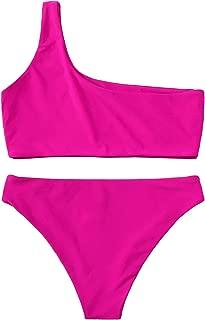Women's Sexy Bathing Suits One Shoulder Tie Knot Front Bikini Swimsuit