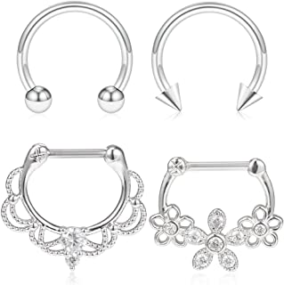 4-16PCS 16G Vintage Flower Stainless Steel Clear CZ Septum Hoop Nose Ring Horseshoe Rings Cartilage Daith Tragus Clicker Retainer Body Piercing Jewelry