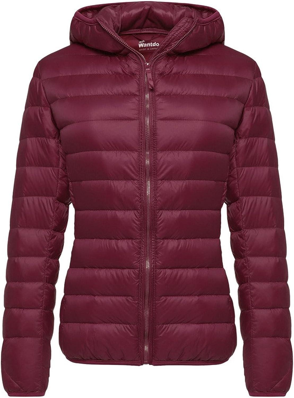 Wantdo Women's Stand Collar Packable Ultra Light Weight Short Down Jacket, Wine Red, Medium